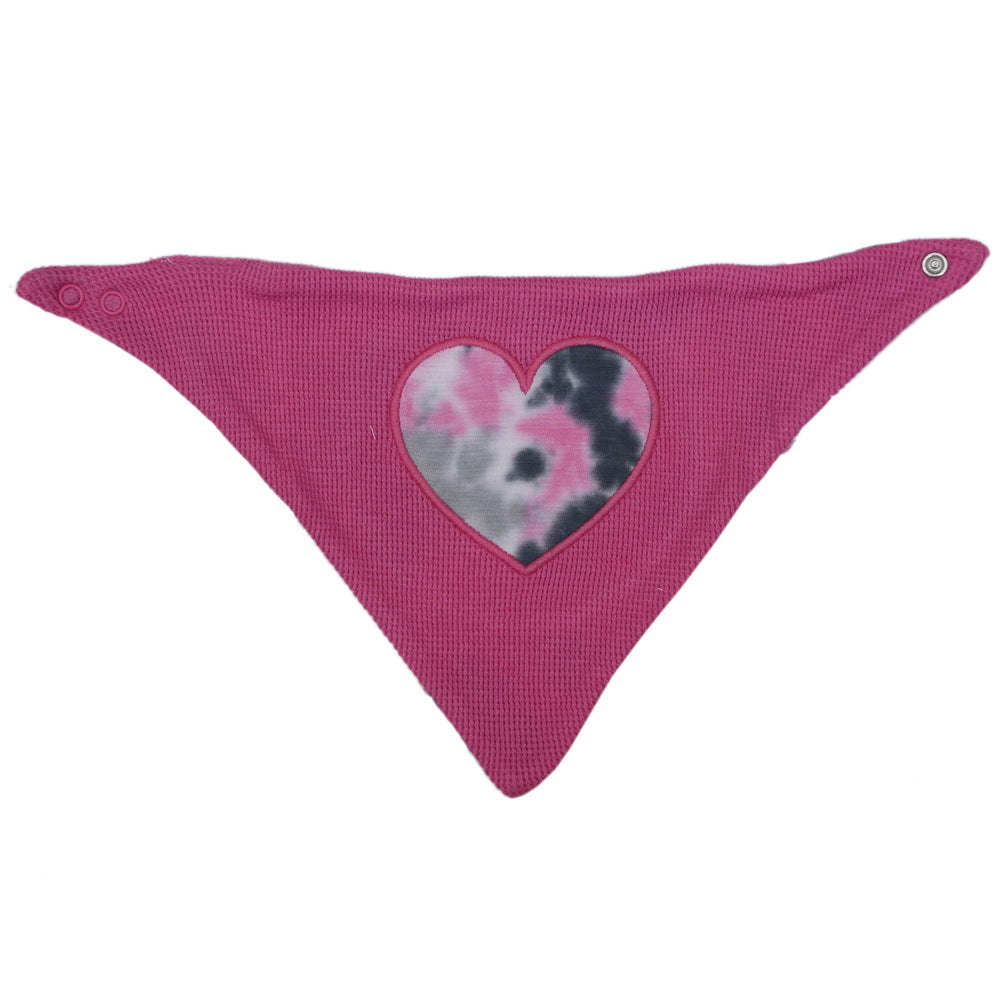 NEW Little Mish Reversible Thermal Bandana Bib - Pink Tie Dye with Heart (4653613711435)