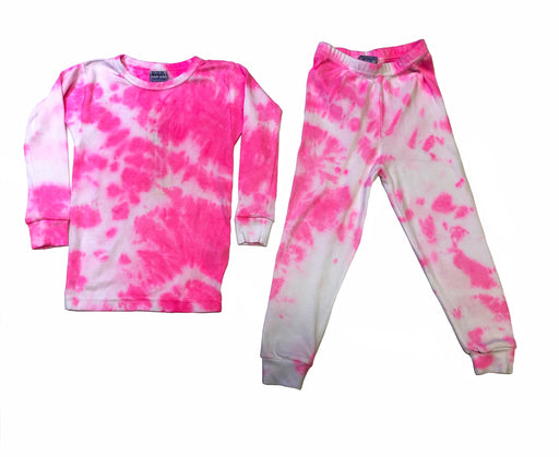 NEW Tie Dye Pajamas - Neon Pink/White (4547414130763)