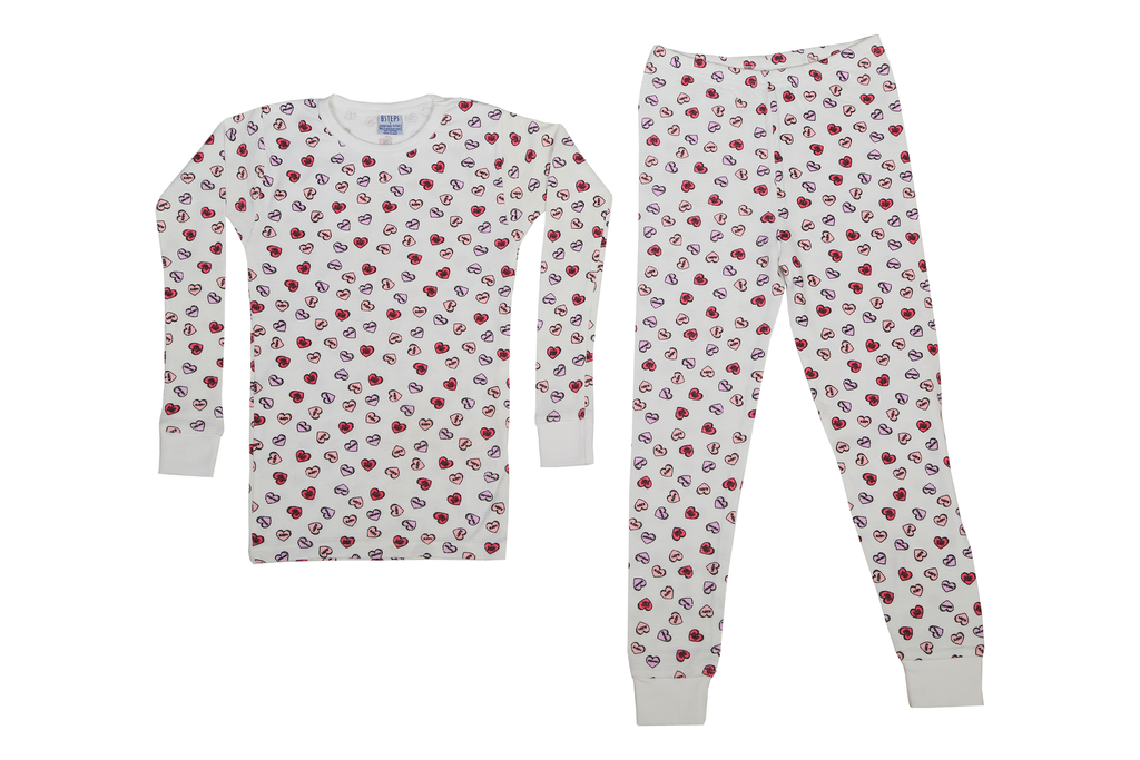 Girls Thermal 2 piece set - Candy Hearts on White