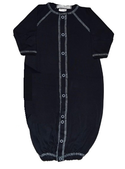 Simply Solid Black - Converter Gown with Matching Hat (4721062150219)