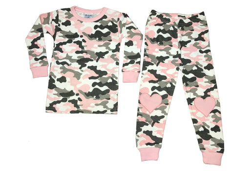 Pajamas - Pink Camo with Heart Knee Patches