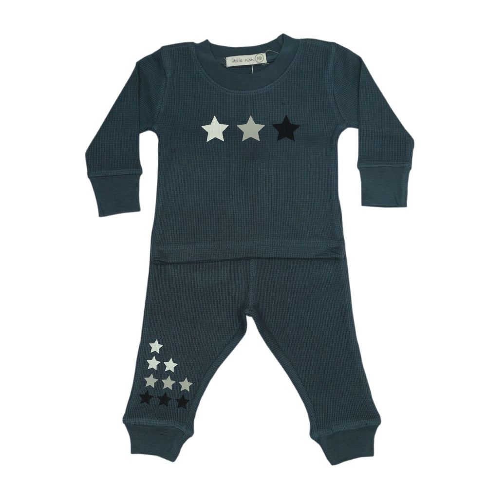 NEW Little Mish Thermal Pants Set - Denim With Multi Stars (4657119330379)