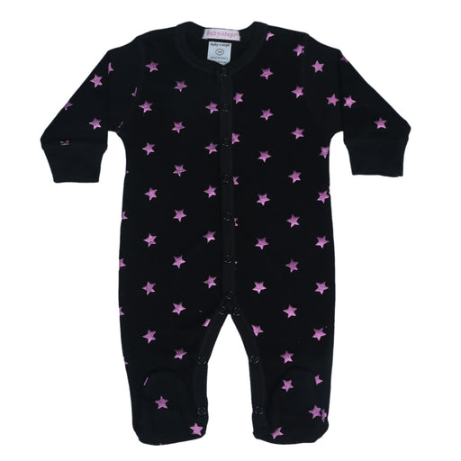 NEW!  Footie - Foil Stars on Black **100% organic cotton** (4697610354763)