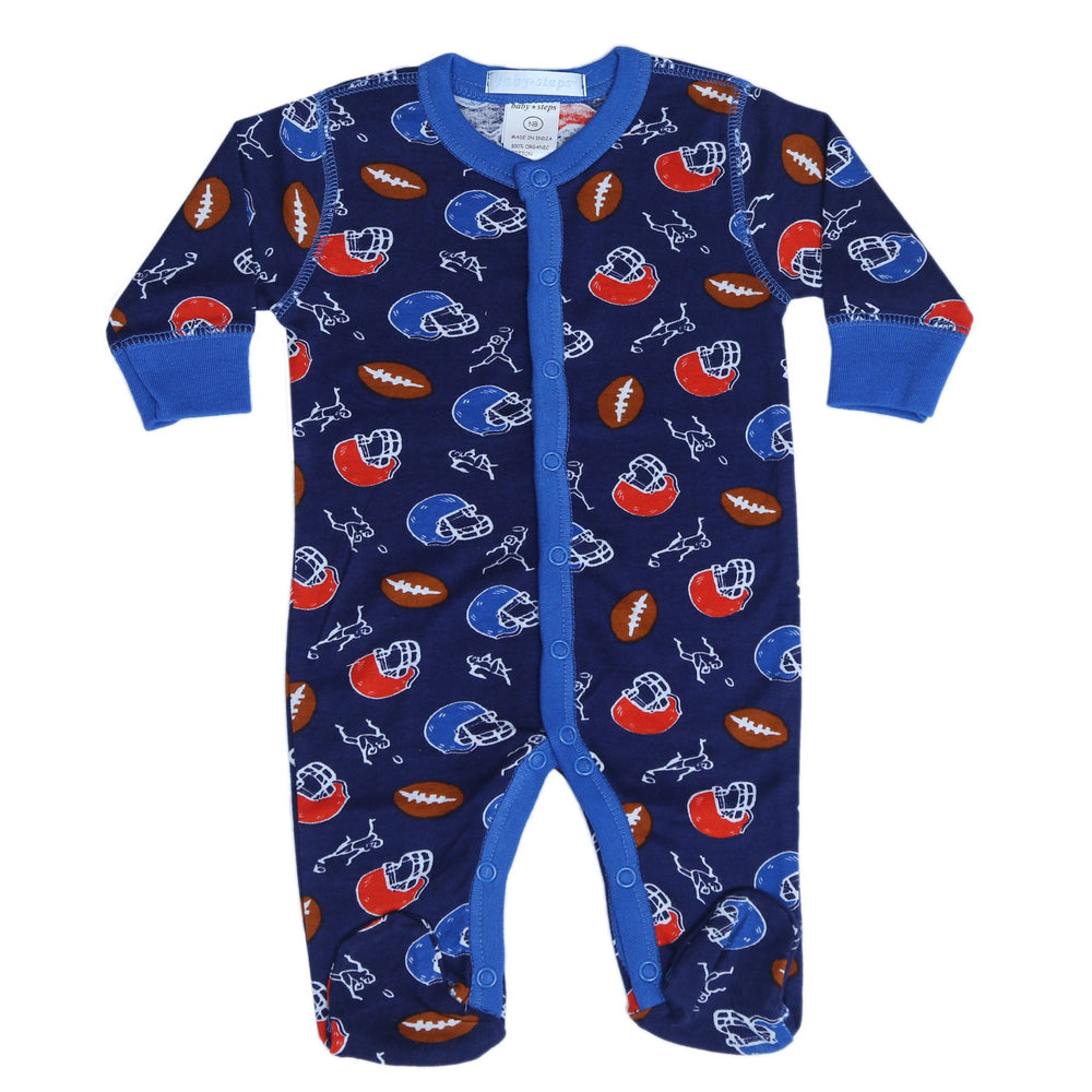 New Baby Steps Footie - Football on Navy (4697838125131)