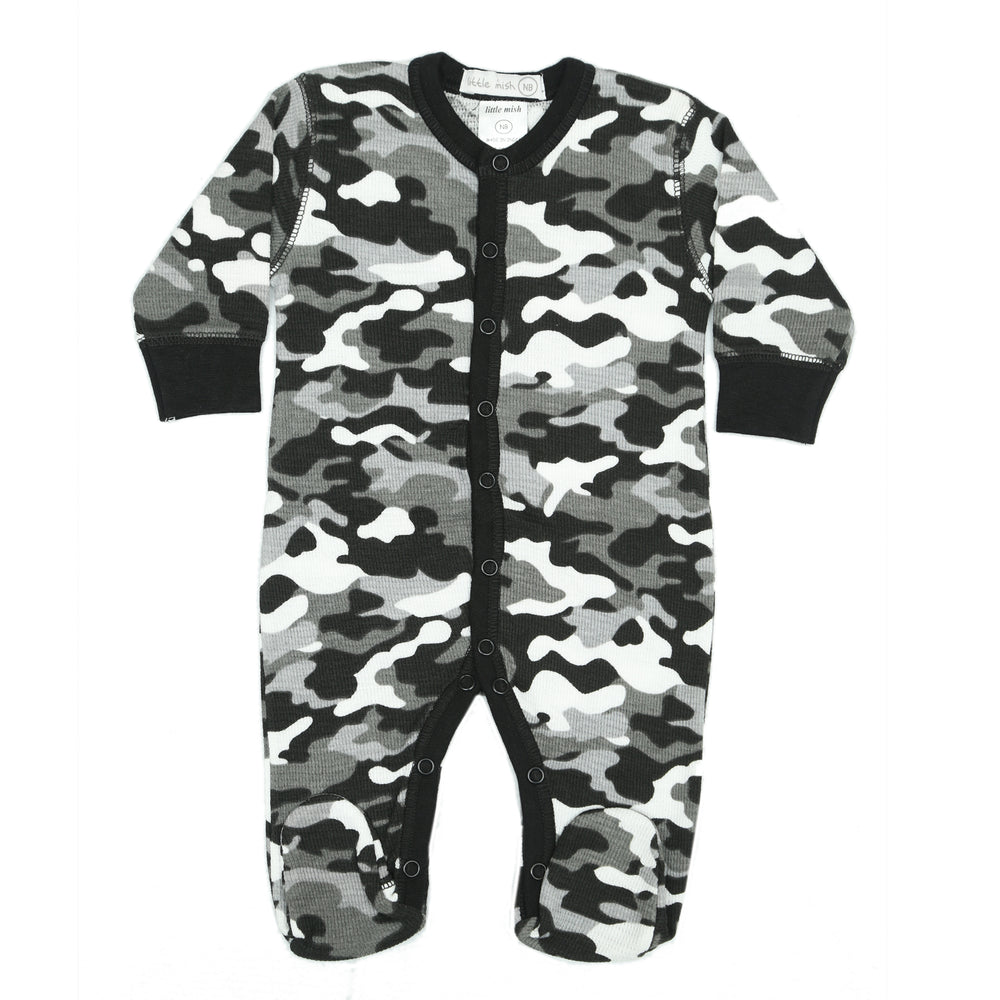 NEW Little Mish Thermal Footie - Black Camo (3975094304843)