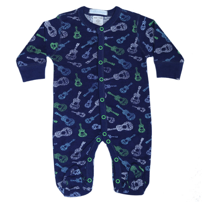 New Baby Steps Footie - Guitars on Navy (4697834815563)