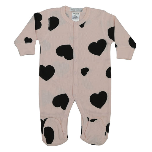 NEW! Little Mish Heart Thermal Footie - Pink with Black Hearts (3975111671883)