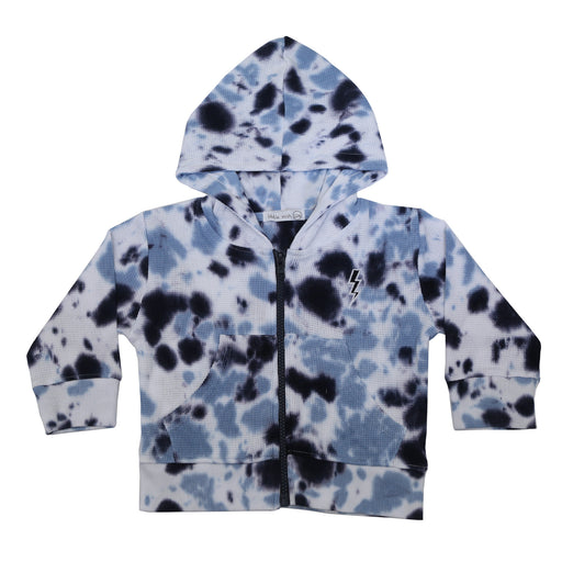 NEW FW20 Little Mish Thermal ZIP Hoody- Navy Tie Dye wWith Lightning (4658656575563)