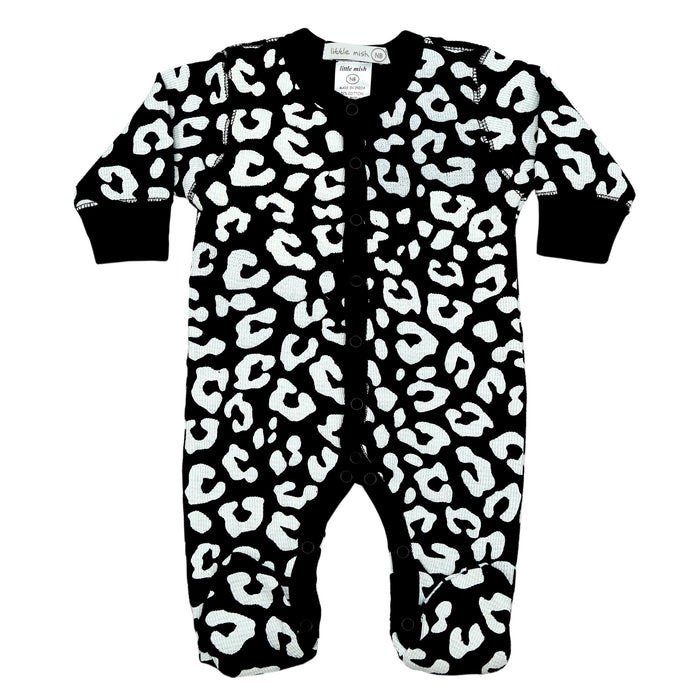NEW FW20 Little Mish Thermal Cheetah Footie - Black on White (4657135485003)