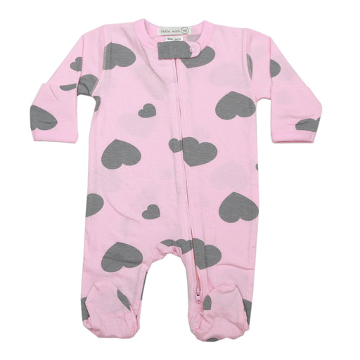 NEW SS21 Little Mish Footie - Coal Hearts on Pink (4698400489547)
