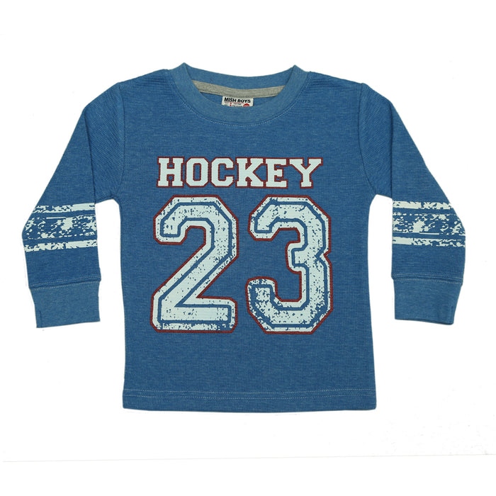 NEW Long Sleeve Distressed Thermal Shirt - Hockey (4662789341259)