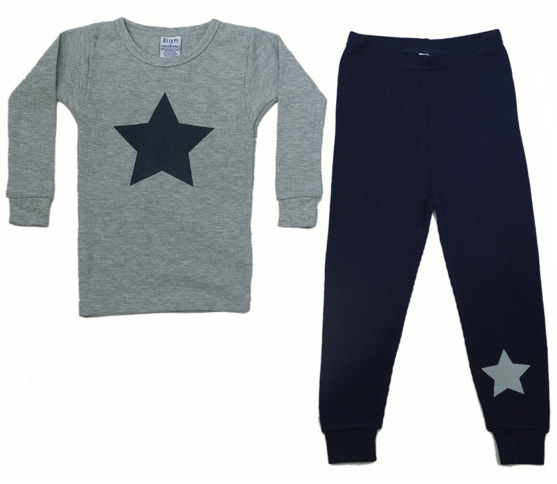 New BSteps Thermal Pajamas - Heather/Navy With Stars (4691628851275)