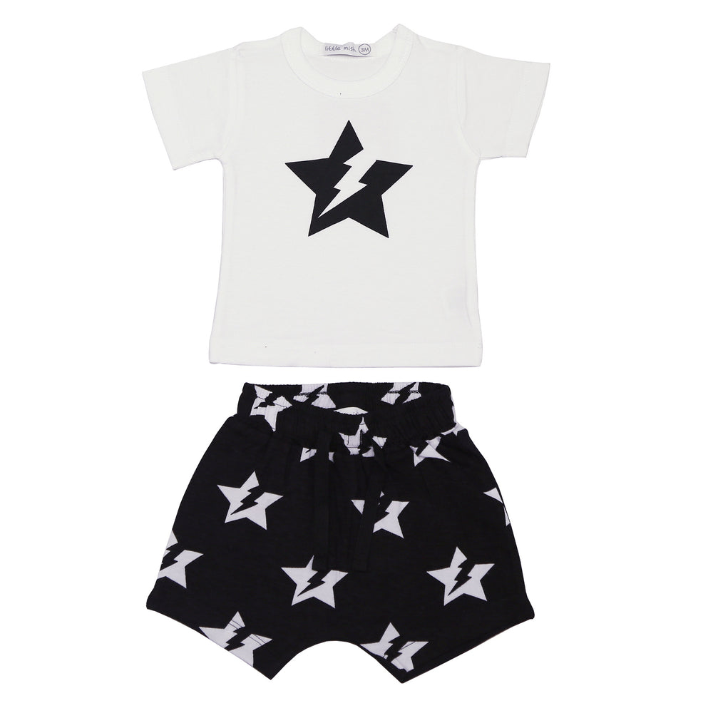 NEW SS21 Little Mish Shorts Set - Black and White Lightning Star (4651093426251)