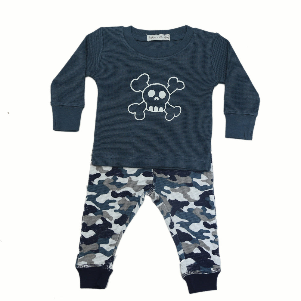 NEW FW20 Little Mish Thermal Pants Set - Navy Camo With Skull (4654392934475)