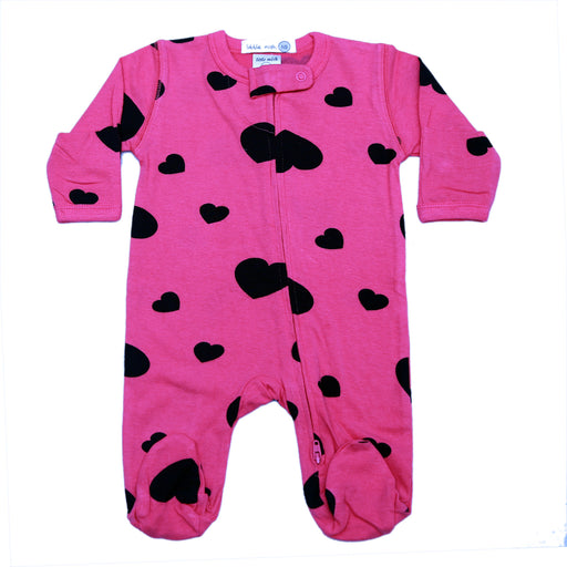 NEW SS21 Little Mish Footie - Black Hearts on Hot Pink (4698383941707)