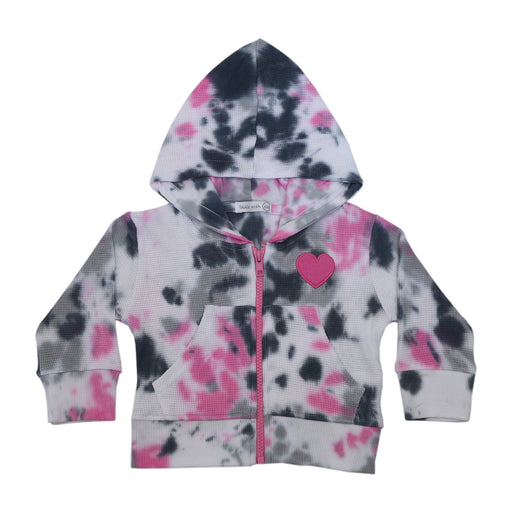 NEW FW20 Little Mish Thermal ZIP Hoody- Pink Tie Dye With Heart (4657154359371)