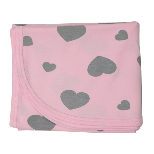 NEW SS21 Little Mish Blanket -coal hearts on pink (4650387963979)