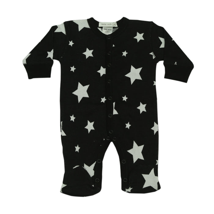 NEW FW20 Little Mish Thermal Stars Footie - White Stars on Black (4657142071371)