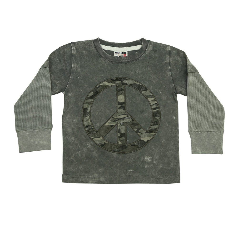 NEW Long Sleeve Shirt - Camo Peace Patch on Coal (4659430817867)