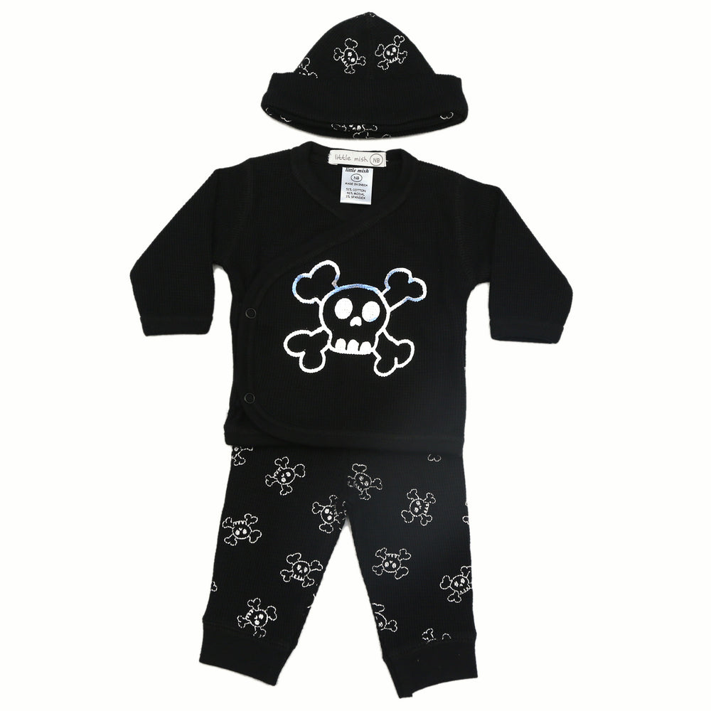 NEW FW20 Little Mish Thermal 3 Piece Take Me Home Set - Silver Foil Skulls on Black (4657394188363)