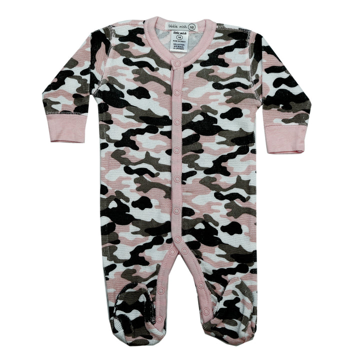 NEW FW20 Little Mish Thermal Camo Footie - Pink (4653773717579)