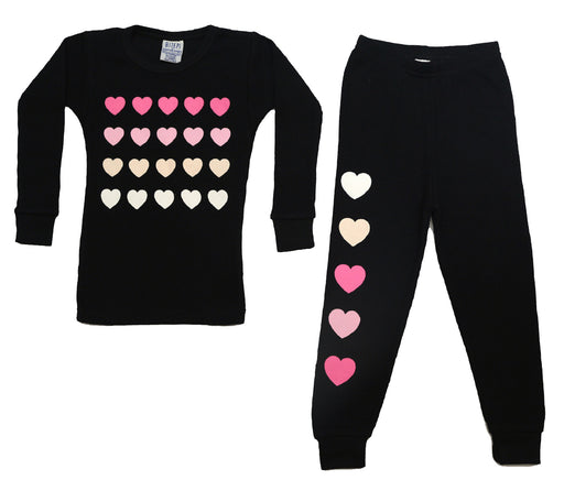 New BSteps Thermal Pajamas - Love Black With Pink Hearts (4691853967435)