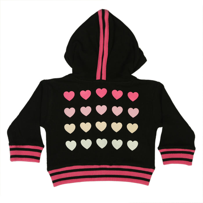 NEW FW20 Little Mish Thermal ZIP Hoody- Multi Pink Love Hearts on Black (4657150296139)