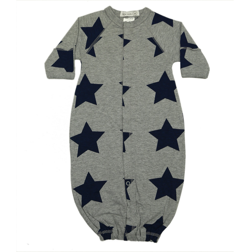 NEW SS21 Little Mish Converter Gown- Heather With Navy Stars (6551494754379)