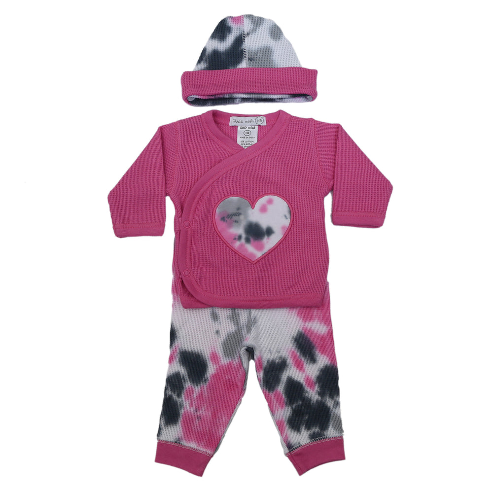 NEW FW20 Little Mish Thermal 3 Piece Take Me Home Set - Pink Tie Dye with Heart (4653760020555)
