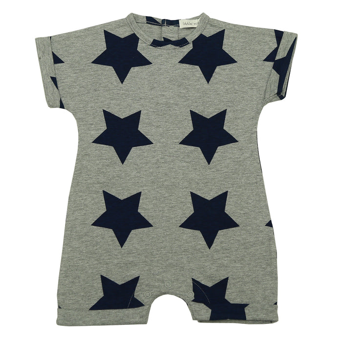 NEW SS21 Little Mish Shortall - Heather With Navy Stars (6551715151947)