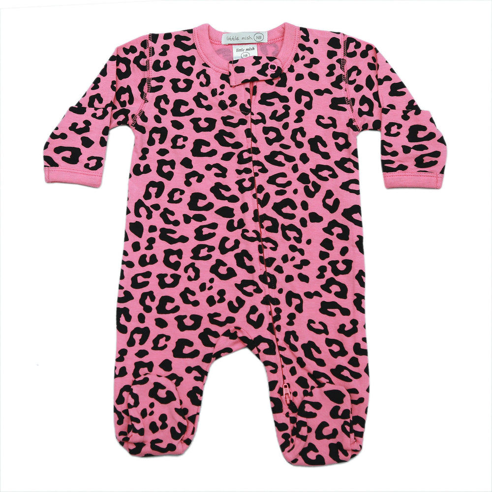 NEW SS21 Little Mish Footie - Pink Cheetah (4698371227723)