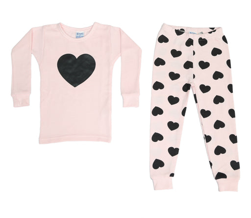 NEW! Thermal Printed Pajamas - All Over Black Hearts on Pink (4686781055051)