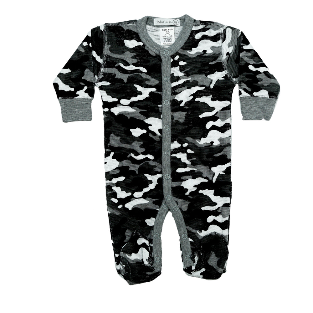 NEW Little Mish Thermal Footie - Black Camo (4657140236363)