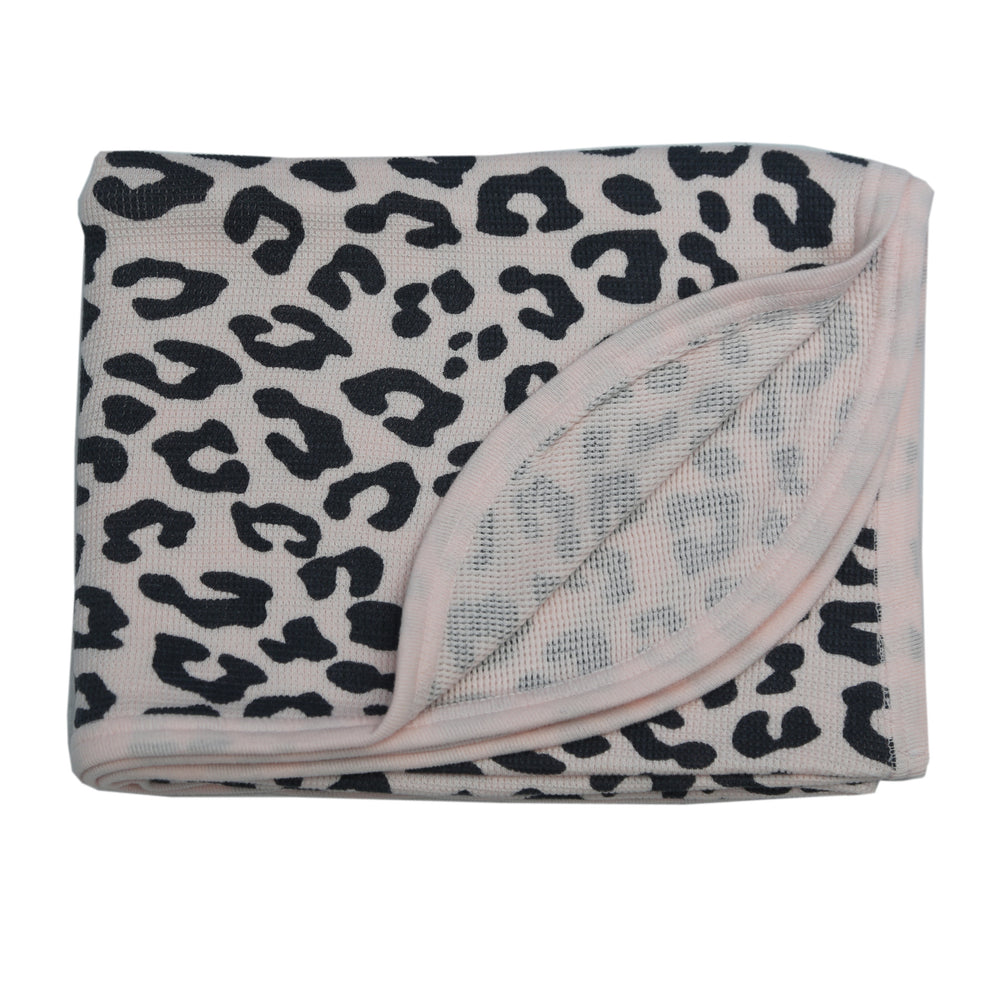 NEW Little Mish Thermal Blanket - Coal Cheetah on Pink (4653715980363)