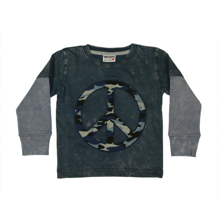 NEW Long Sleeve Shirt - Camo Peace Patch on Navy (4659160416331)
