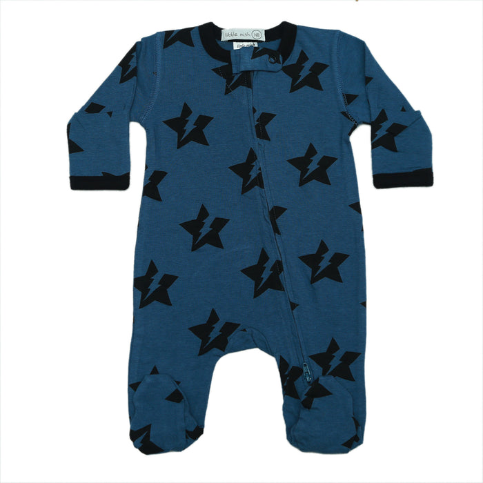NEW SS21 Little Mish Footie - Lightning Star on Denim (4698419691595)