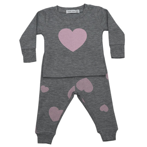 NEW FW20 Little Mish Thermal Pants Set - Pink Hearts on Heather (4657116479563)