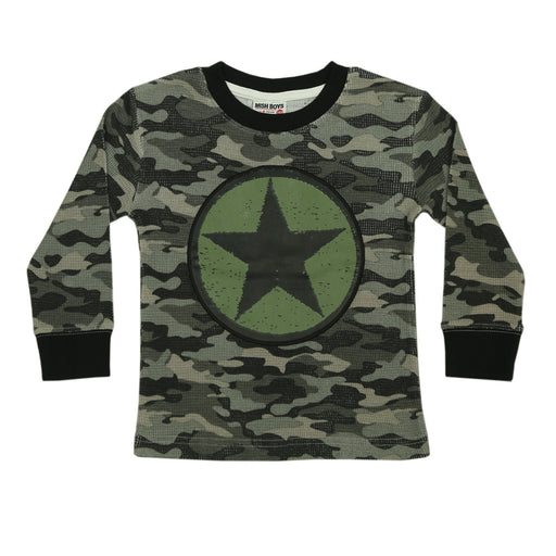 NEW Long Sleeve Shirt - Olive Star on Distressed Camo (4659435601995)