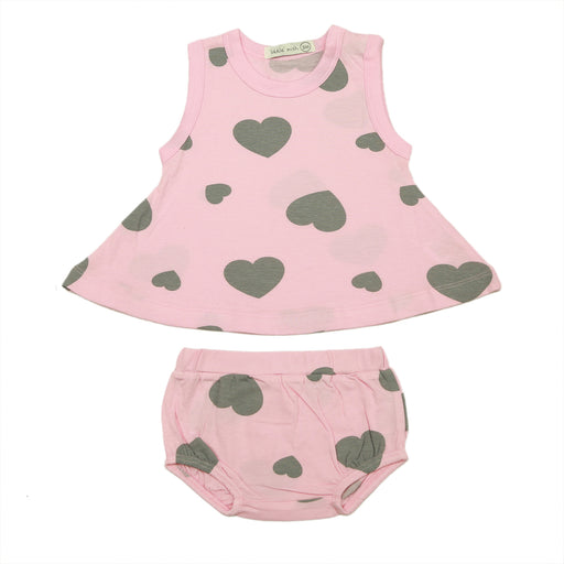 NEW SS21 Little Mish Swing Top and Diaper Cover Set - Hearts Coal on Pink (4651208048715)