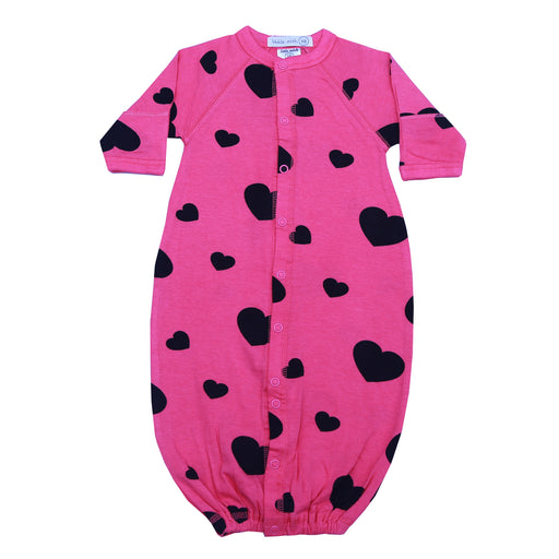 NEW SS21 Little Mish Converter Gown - Black Hearts on Hot Pink (4698384334923)