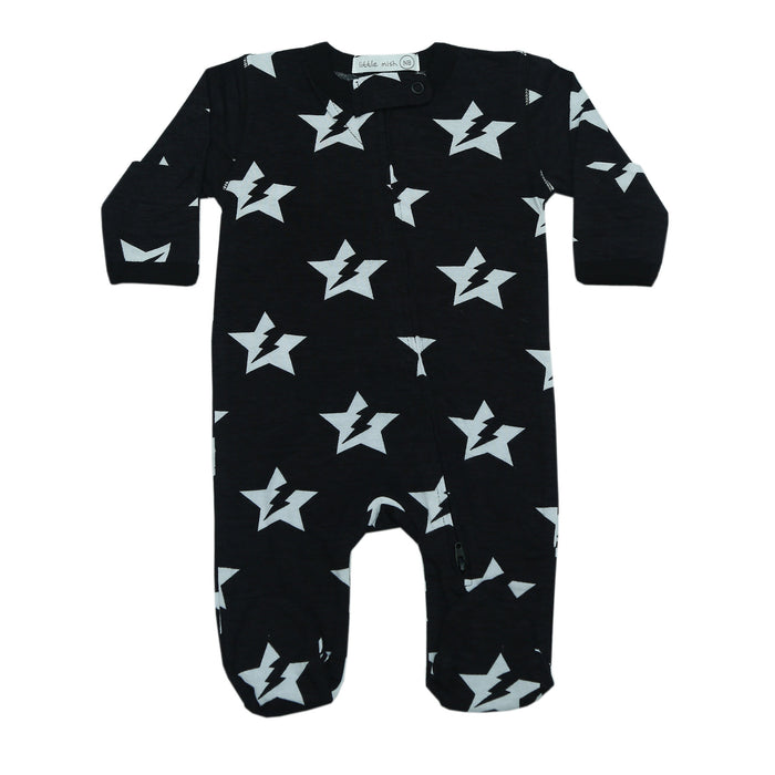 NEW SS21 Little Mish Footie - Black/White Lightning Star (4698420871243)