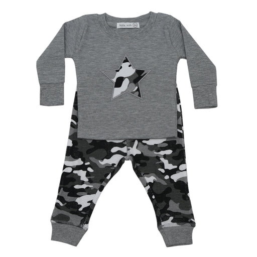 NEW FW20 Little Mish Thermal Pants Set - Black Camo With Star (4654397489227)