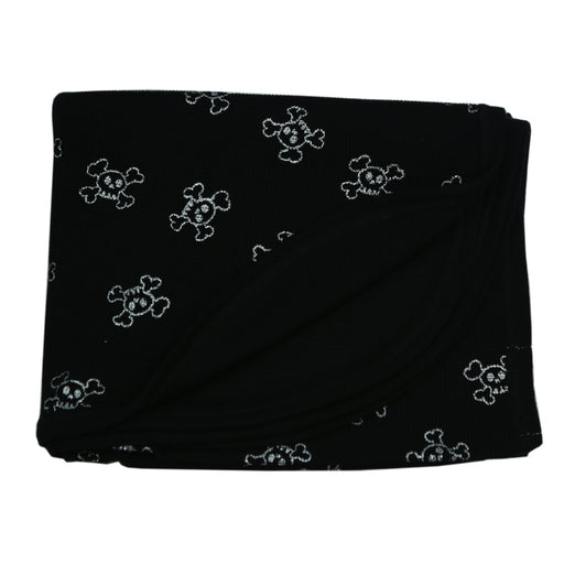 NEW FW20 Little Mish Thermal Blanket- Silver Foil Skulls on Black (4653622820939)