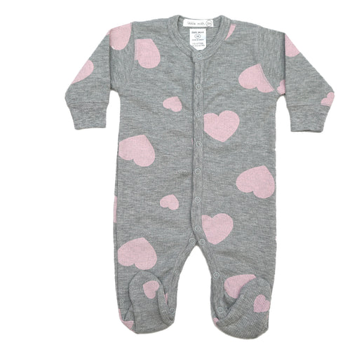 NEW FW20 Little Mish Thermal Hearts Footie - Pink on Heather (4657133027403)