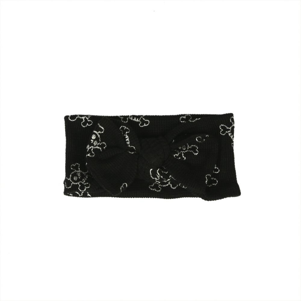 NEW FW20 Little Mish Thermal Headband- Silver Foil Skulls on Black (4653721059403)