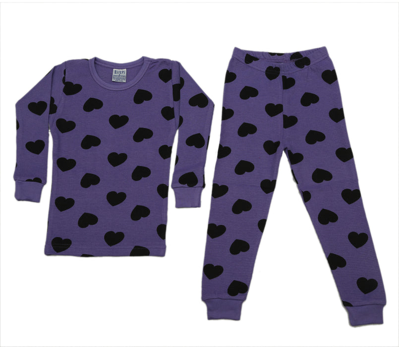 NEW! Thermal Heart Pajamas - Black Hearts on Grape (4715854495819)