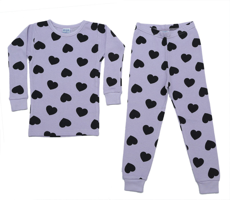 NEW! Thermal Heart Pajamas - Black Hearts on Lilac (4715853709387)