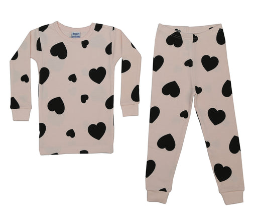 Thermal Printed Pajamas - Multi Black Heart on Pink (4734750228555)