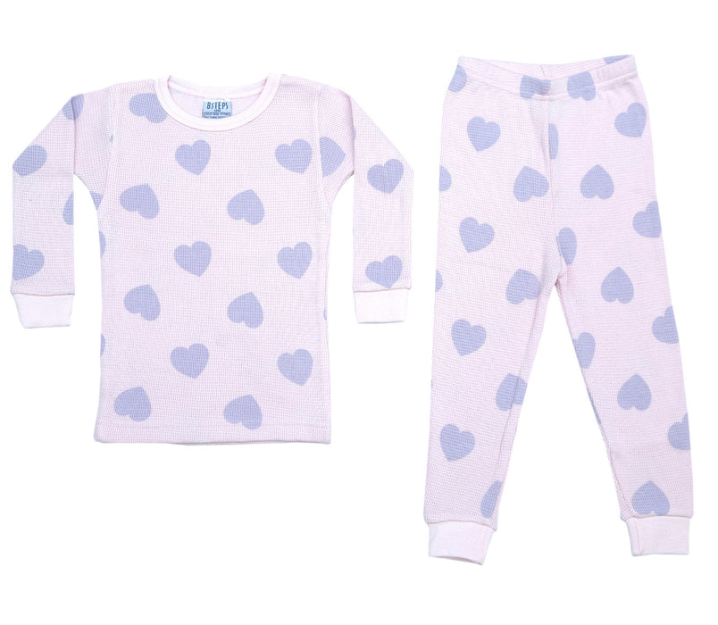 NEW!  Thermal Heart Pajamas - Lilac Hearts on Pink (4690593349707)