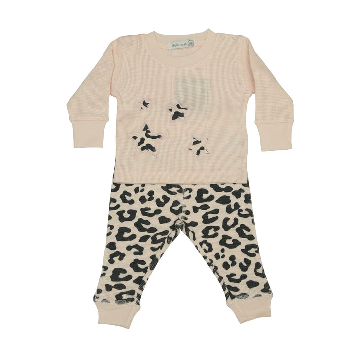 NEW FW20 Little Mish Thermal Pants Set - Coal Cheetah on Pink (4655693791307)